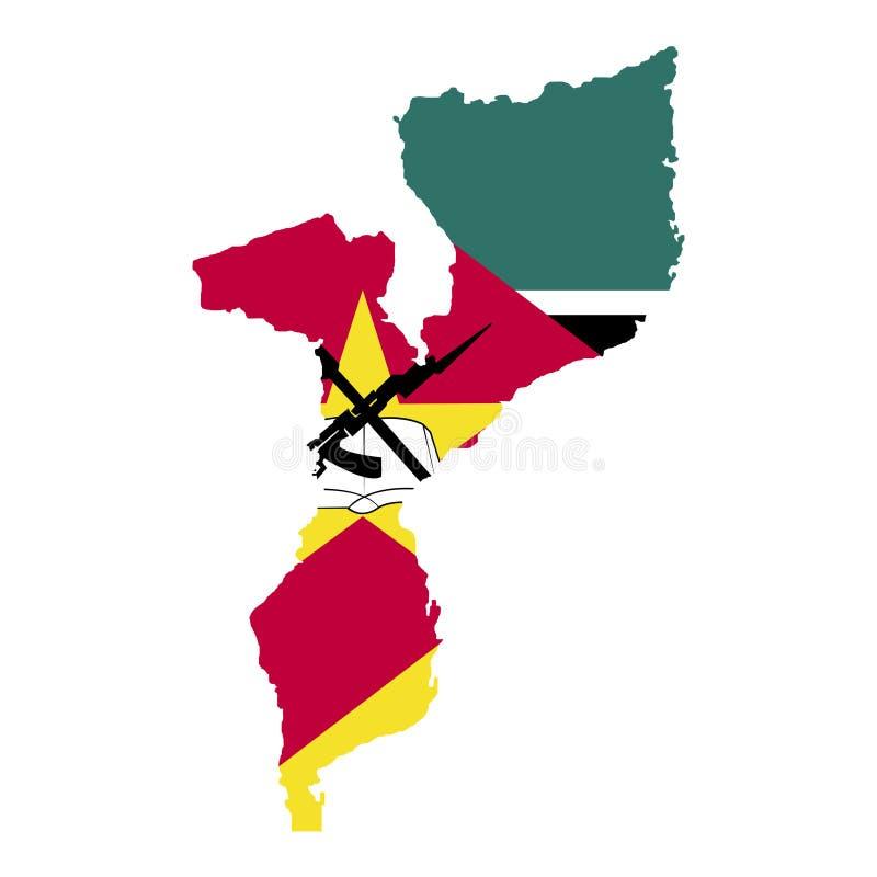 Terytorium i flaga Mozambik Biały tło również zwrócić corel ilustracji wektora ilustracja wektor