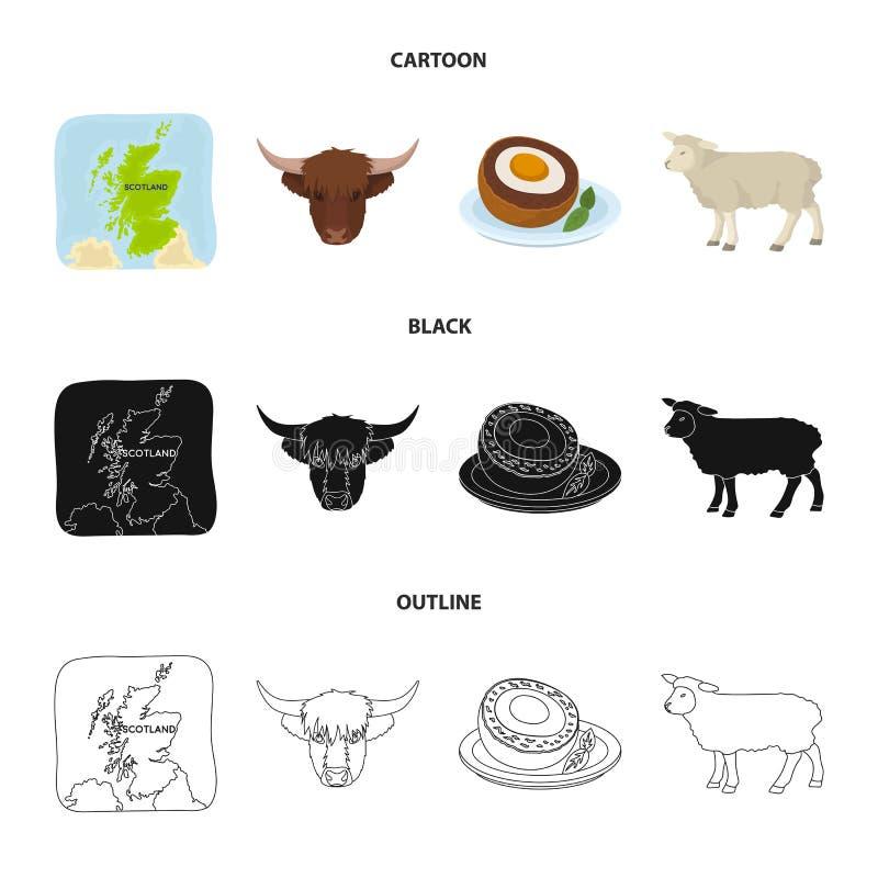 Terytorium na mapie, byk głowa, krowa, jajka Szkocja kraju ustalone inkasowe ikony w kreskówce, czerń, konturu stylowy wektor royalty ilustracja