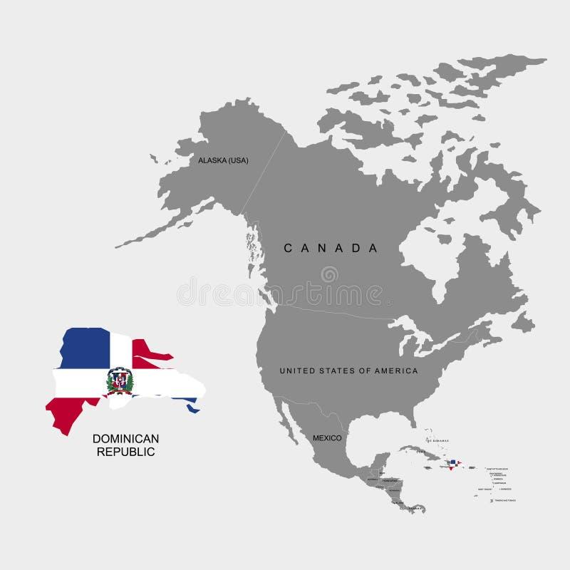 Terytorium republika dominikańska na Północna Ameryka kontynencie miało dominican republiki również zwrócić corel ilustracji wekt ilustracja wektor