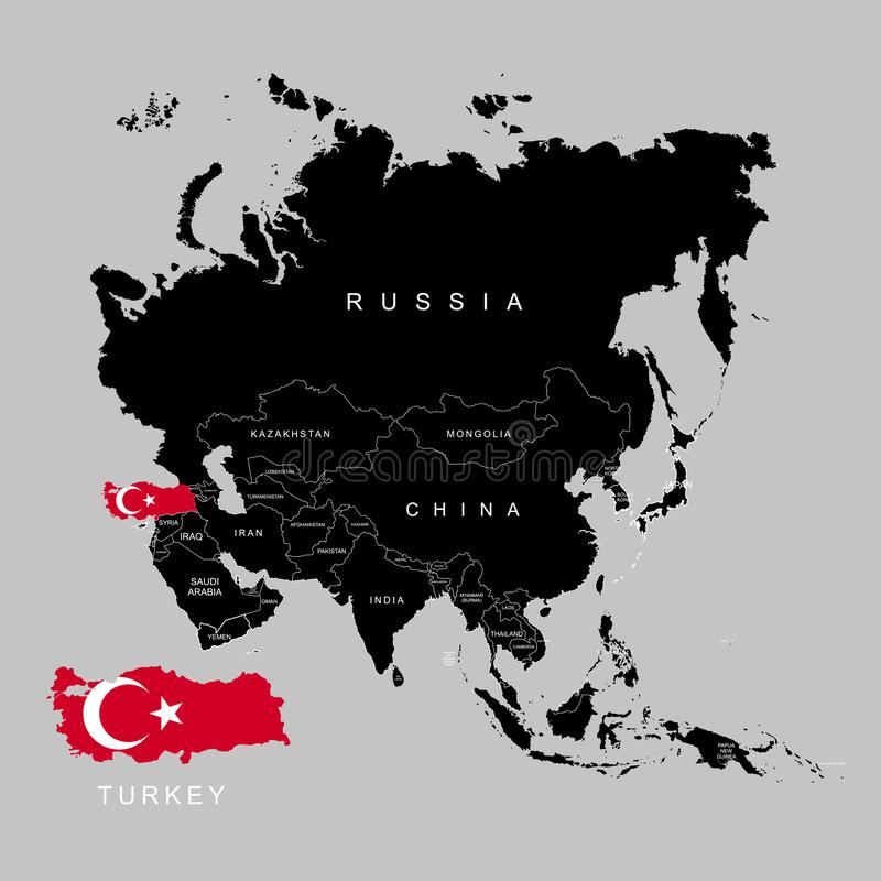 Terytorium Turcja na Azja kontynencie Flaga Turcja również zwrócić corel ilustracji wektora royalty ilustracja