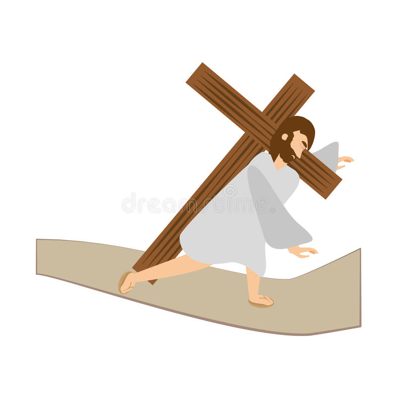 terza caduta di Gesù Cristo via la stazione di crucis fotografia stock libera da diritti