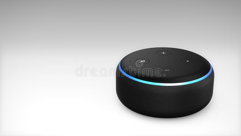 Terza generazione di Amazon Alexa Echo Dot illustrazione di stock