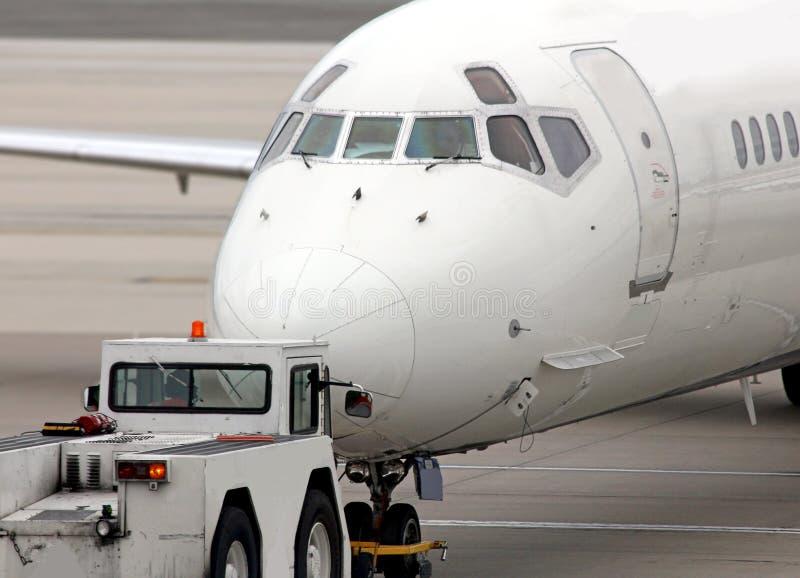 Terzijde geschoven vliegtuig stock foto