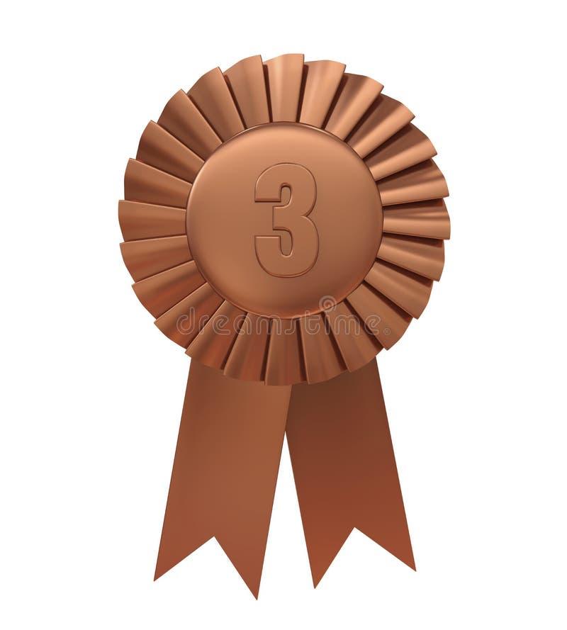 Terzo nastro del premio del bronzo del posto isolato illustrazione vettoriale