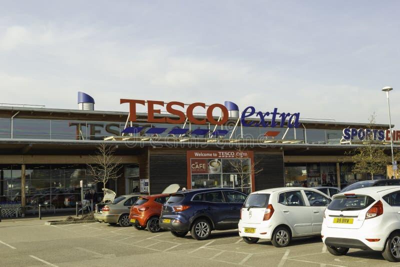 Tesco-de voorzijde van de Supermarktopslag Leigh, Groter Manchester, U K royalty-vrije stock fotografie