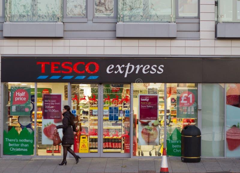 Tesco express. Supermarket entrance in London, UK royalty free stock image