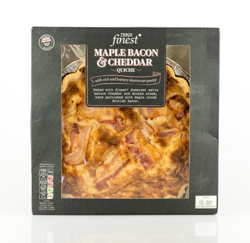 Tesco finest maple bacon and cheddar quiche. stock photo