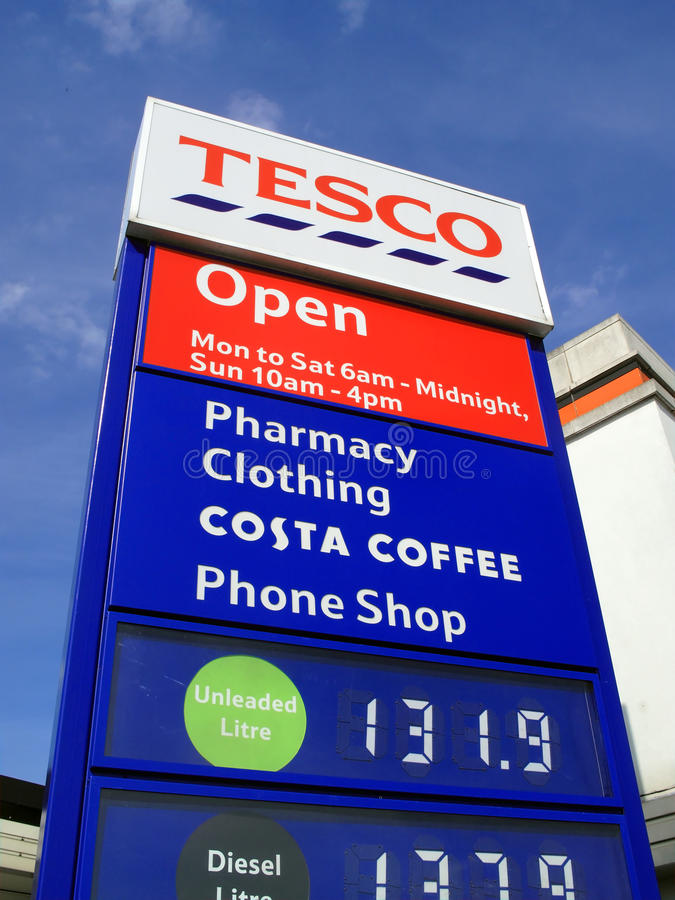 Download Tesco petrol station sign editorial photography. Image of fuel - 19947122