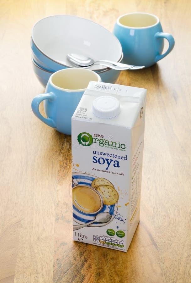 Tesco-Soja-Milch lizenzfreies stockbild
