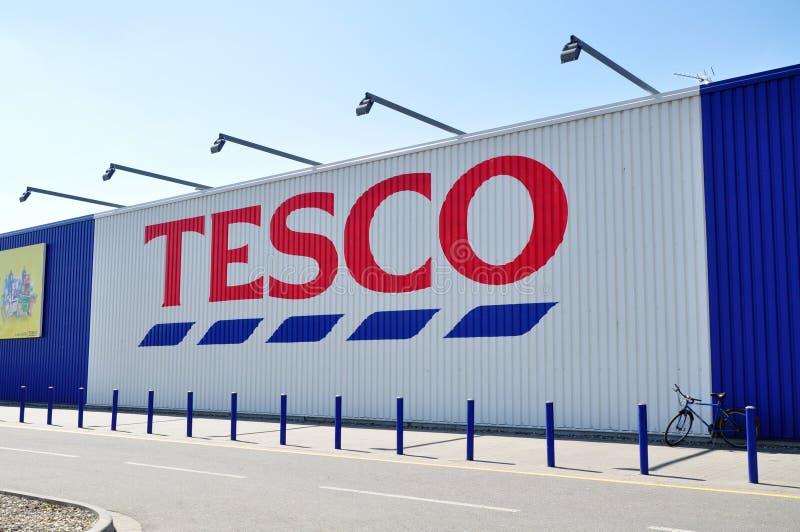 Tesco supermarket. Tesco logo and supermarket, global retailer, an urban architecture