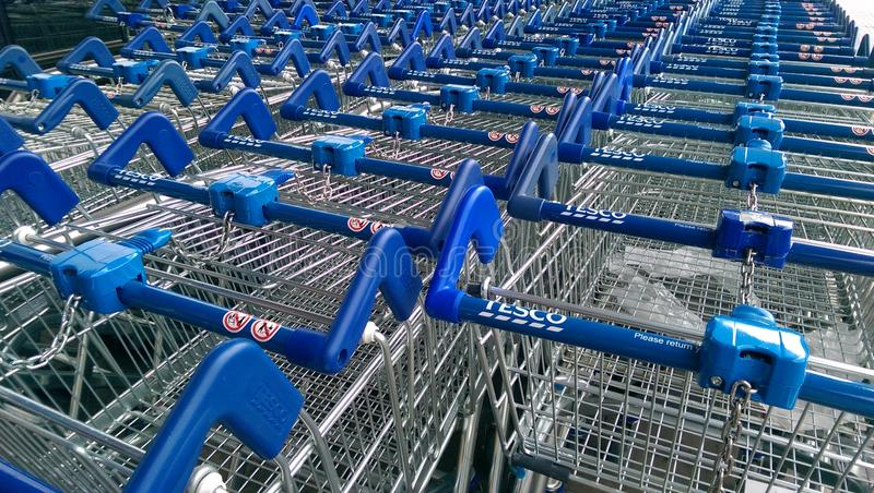 Download Tesco Shopping Carts editorial stock image. Image of general - 42764114