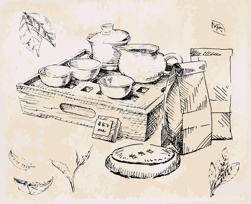 Teservis, porslin och Japan örtte stock illustrationer