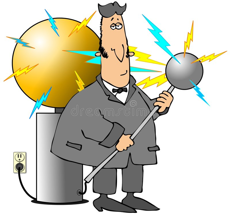 Tesla Coil. This illustration depicts a caricature of Nikola Tesla with his electricity coil royalty free illustration