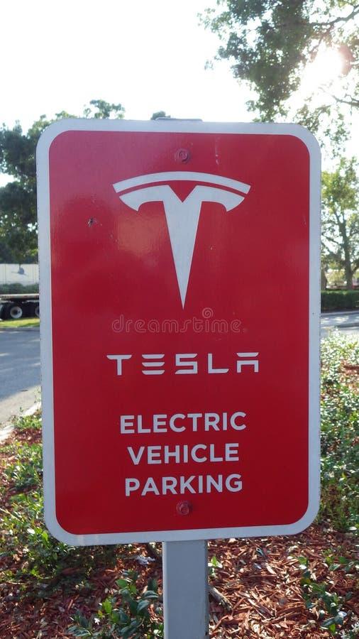 Tesla EVSE Super Charger Sign stock photo