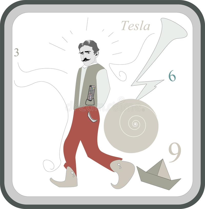 Nicola Tesla inventor and engineer. Tesla inventor and engineer who discovered and patented the rotating magnetic field royalty free illustration