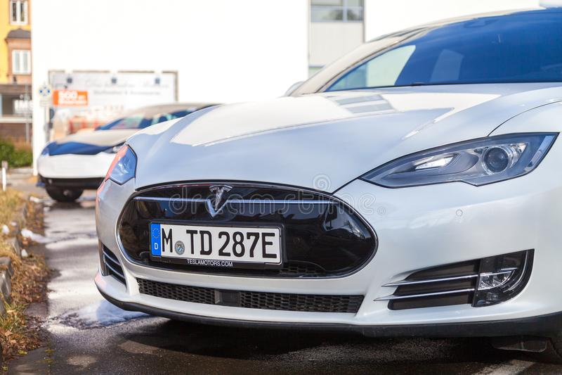 Tesla logo on a Tesla car stock photo