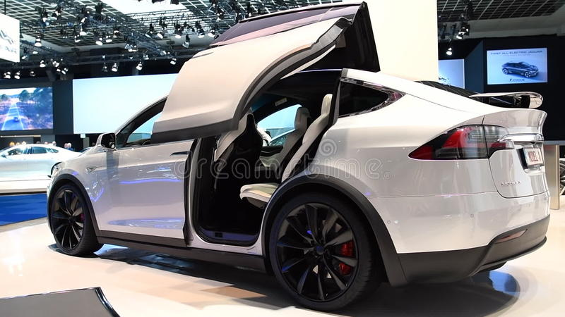 Tesla Model X All-electric Luxury Crossover SUV Car With Opening Doors Stock Footage - Video of 1080 crossover 84715404 & Tesla Model X All-electric Luxury Crossover SUV Car With Opening ...