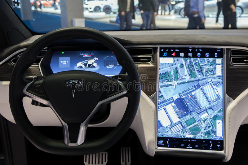 BRUSSELS   JAN 19, 2017: Interior Dashboard With Navigation Of The Tesla  Model X Car On Display At The Motor Show Brussels.