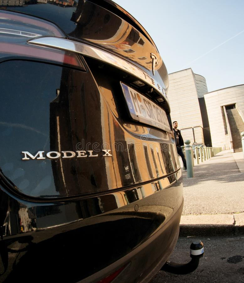 Tesla Model X electric car SUV parked on French street royalty free stock images