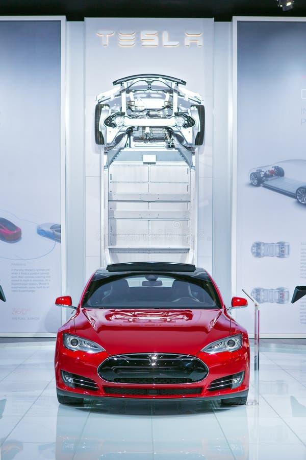 Tesla modela S Detroit 2015 Auto przedstawienie zdjęcie stock