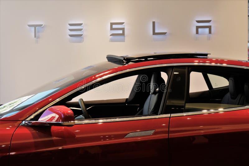 Tesla Models electric car stock afbeeldingen