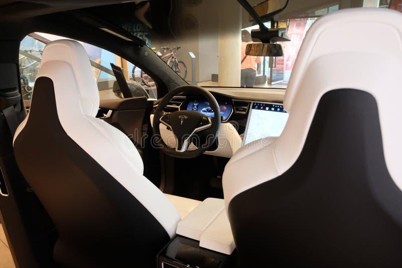 Tesla Modelx elektrische auto stock fotografie