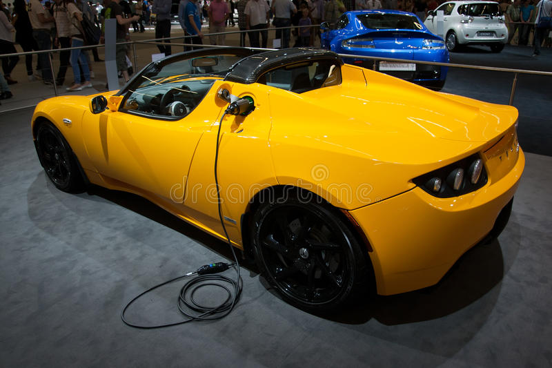Tesla Roadster sports car. AMSTERDAM - APRIL 22 - Tesla Roadster Sport 2.5 on display during the AutoRAI motorshow April 22, 2011 in Amsterdam, The Netherlands royalty free stock photo