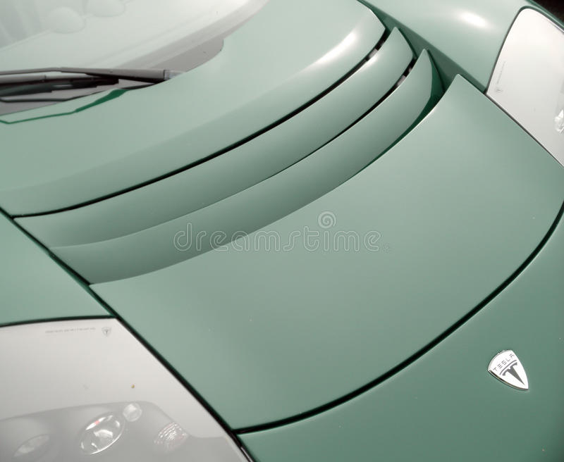 Tesla Roadster carhood royalty free stock photo