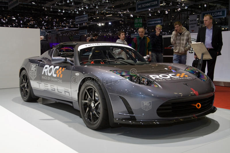 Tesla Roadster Race of Champions - Geneva 2011. The Tesla Roadster version used for the Race of Champions - Picture taken at the 2011 Geneva Motor Show, 3-13 royalty free stock image