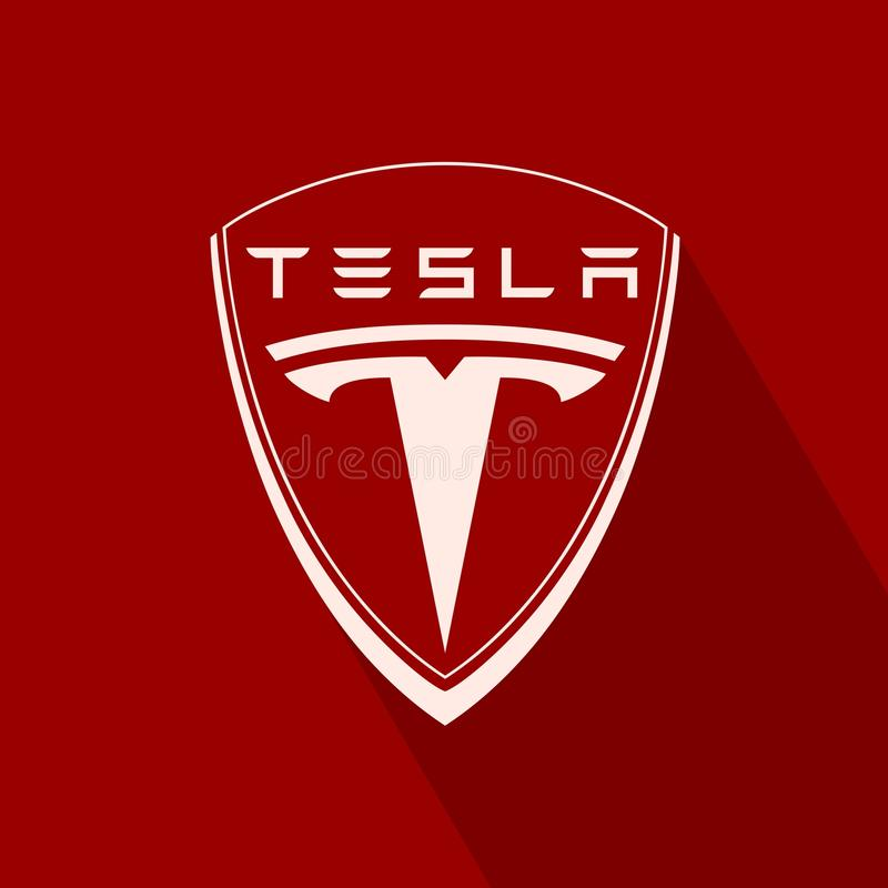 Tesla samochodu emblemat royalty ilustracja