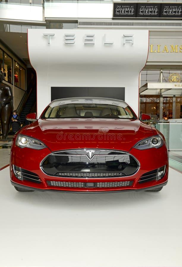 Tesla silniki Wzorcowy S na pokazie w Nowy Jork obraz royalty free