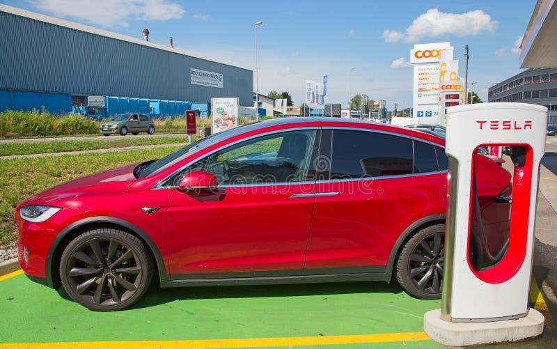 Tesla supercharger fotografia stock