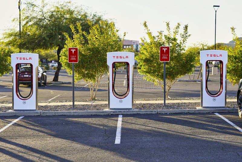 Tesla Supercharger charging stations in Phoenix, Arizona USA on January 6, 2020 royalty free stock image