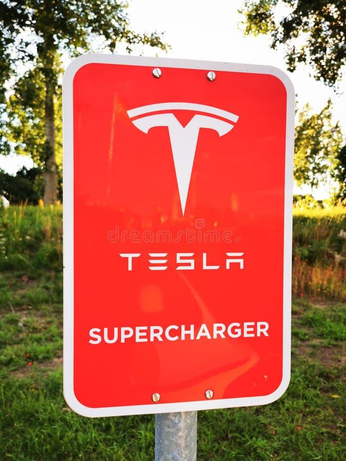 Tesla Supercharger sign stock photos