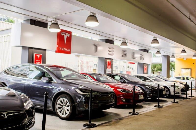 Teslamotoren stock afbeelding