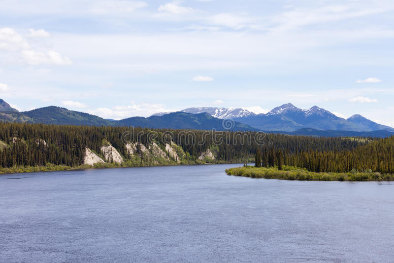 Teslin River Yukon Territory Canada. Boreal forest landscape of Teslin River just north of Teslin Lake, Yukon Territory, Canada royalty free stock photos