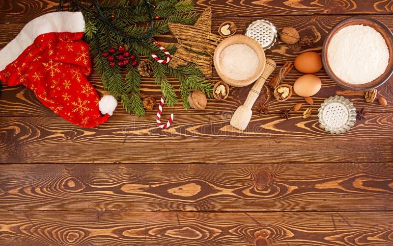 Tesori del nuovo anno di Natale della preparazione Ingredienti e festa fotografia stock