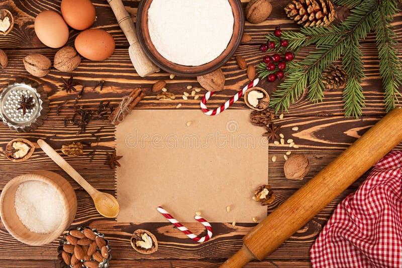 Tesori del nuovo anno di Natale della preparazione Ingredienti e festa fotografie stock