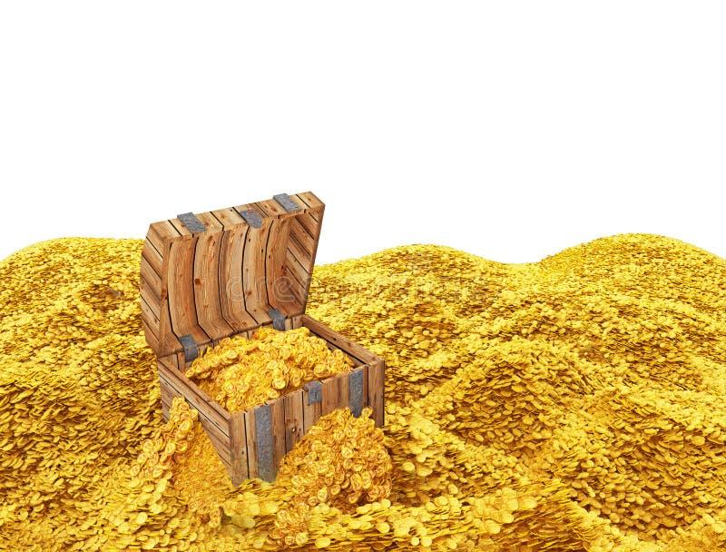 Tesoro de oro de las monedas ilustración del vector