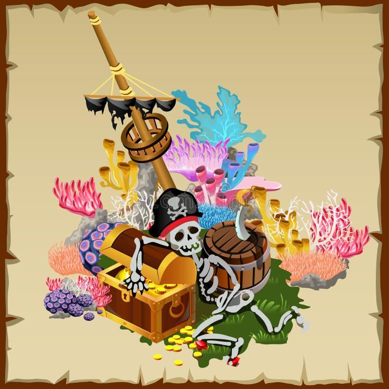 Tesoro del pirata, nave del fragmento y guardia esquelético libre illustration