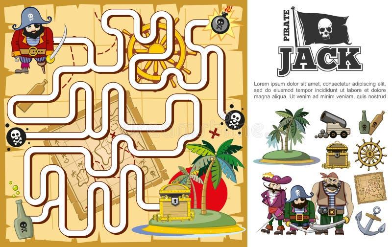 Tesoro Hunt Maze Concept del pirata del fumetto illustrazione vettoriale