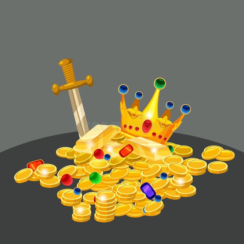 Tesoro, oro, monete, gioielli, corona, spada, vettore, isolato, stile del fumetto, fondo scuro illustrazione vettoriale