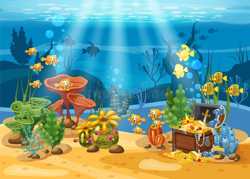 Tesoro subacqueo, petto al fondo dell'oceano, oro, gioielli sul fondale marino Paesaggio subacqueo, coralli illustrazione di stock