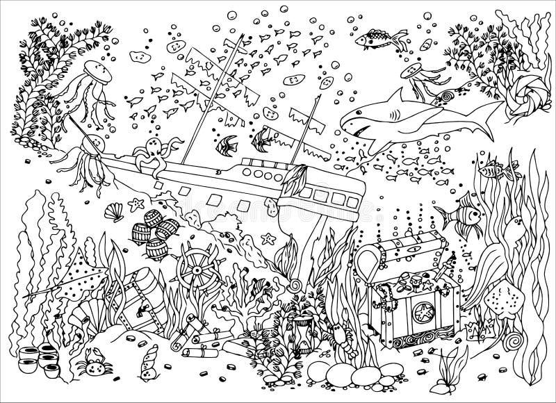 Tesoro Sunken naufragio Illustrazione di vettore Disegno di scarabocchio Esercizio meditativo Anti sforzo del libro da colorare p illustrazione vettoriale