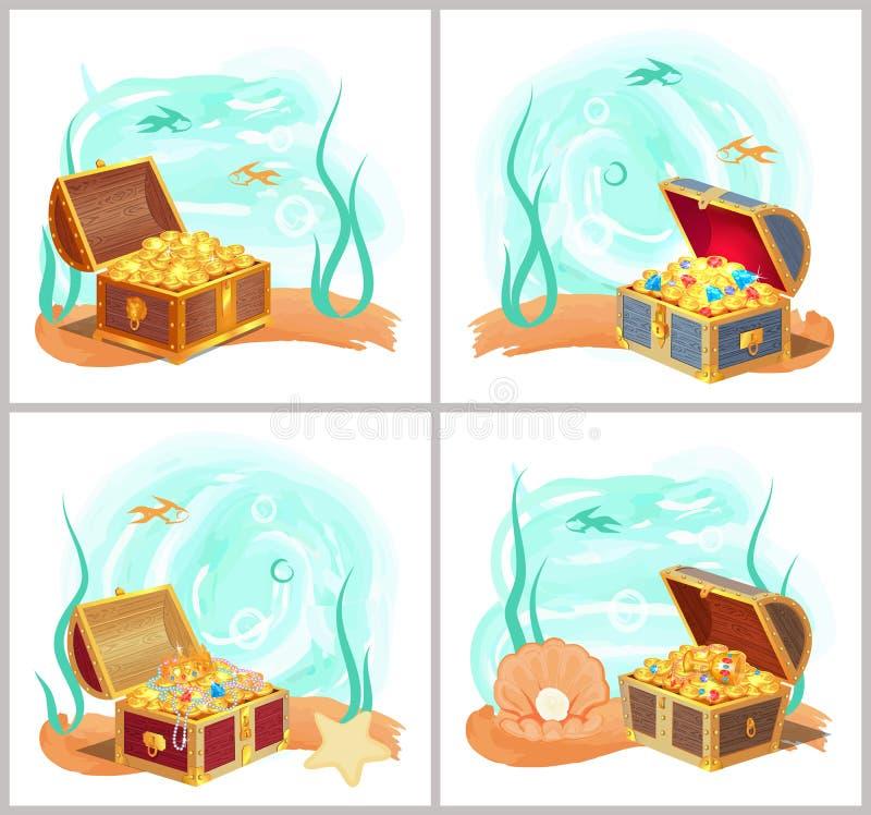 Tesoros de las sirenas en pecho en la parte inferior del sistema del mar stock de ilustración