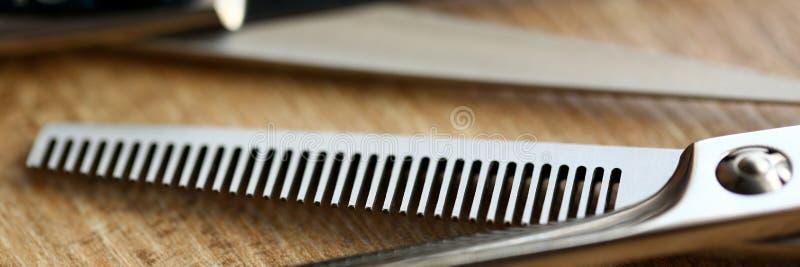 Tesoura Metálica de Hairdresser Foto de Aproximação fotografia de stock royalty free