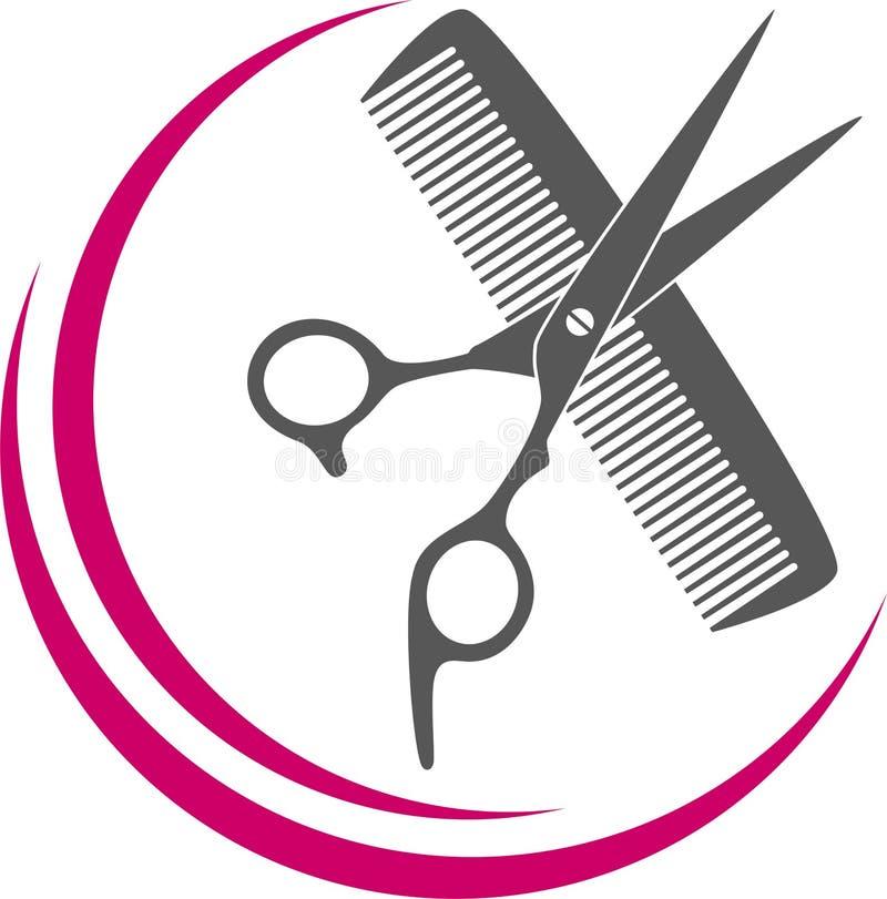 Tesoura, pente e lâmina em preto, cabeleireiro e ferramentas de barbeiro Logotipo ilustração stock