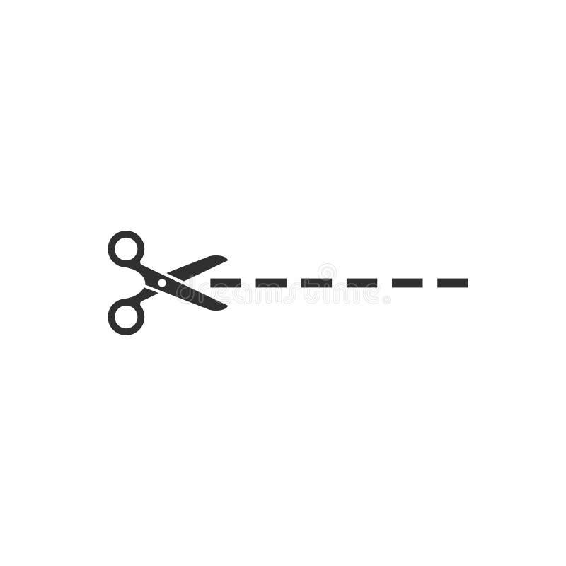 Tesouras ícone, símbolo do vetor do elemento do design web ilustração stock