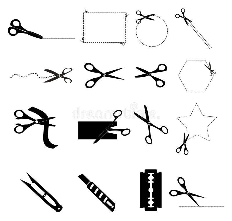 tesouras com linhas de corte ilustração do vetor