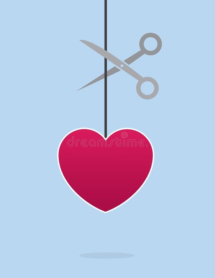 Tesouras da corda do coração ilustração royalty free